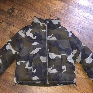 Army fatigue puffer coat